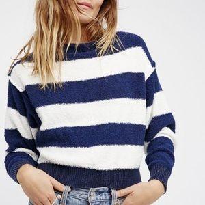 Free People Striped Dolman Boat Neck Sweater